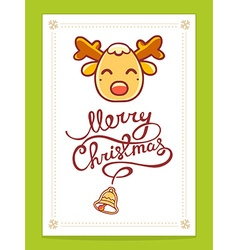 Yellow christmas deer with hand written t vector