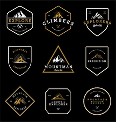 Mountain adventure expedition badges collection vector