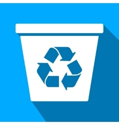Recycle bin flat long shadow square icon vector