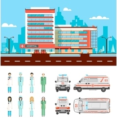 Street with clinic vector