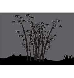 Silhouettes of bamboo in the fields vector