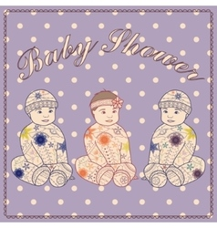 Baby shower triplets two boys and girl vector image