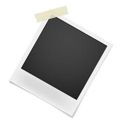 Blank retro photo frame hanging on single corner vector