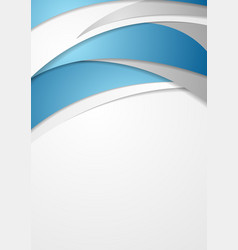 blue and grey abstract wavy flyer design vector image vector image