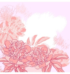 Card with peony on grunge background vector image vector image