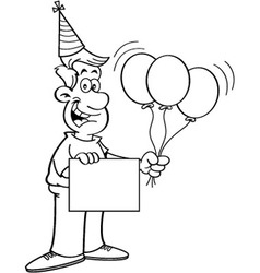 Cartoon man holding a sign and balloons vector image vector image