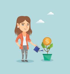Caucasian business woman watering money flower vector