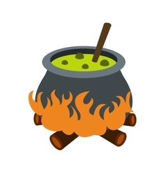 Cauldron with green potion icon vector