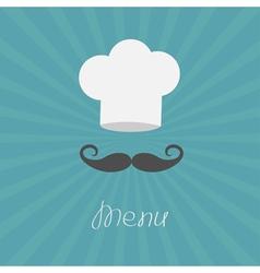 Chef hat and big mustache Menu card Flat design vector image