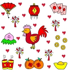 Chinese celebration of doodles vector