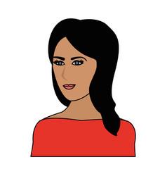 Color image cartoon half body woman with long side vector