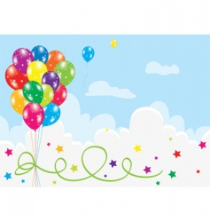 Colorful balloons in the sky vector
