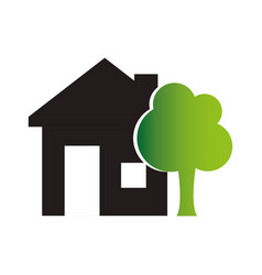 colors silhouette of house with exterior tree vector image