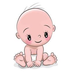 Cute cartoon baby boy vector