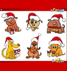 dog characters on christmas cartoon set vector image vector image