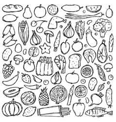 doodle food set vector image vector image