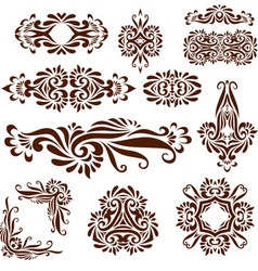 Elements painted with henna set vector image vector image