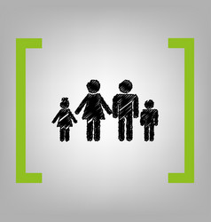 family sign black scribble vector image vector image