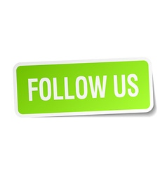 Follow us green square sticker on white background vector