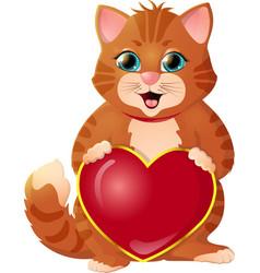 Ginger kitten on a white background vector