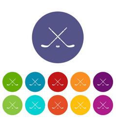 Hockey set icons vector