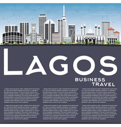 Lagos Skyline with Gray Buildings Blue Sky vector image vector image