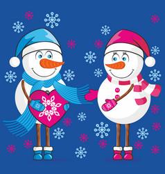 lovers snowmen vector image