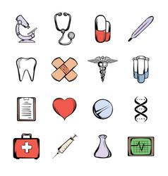 medical icons set cartoon vector image vector image