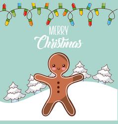 Merry christmas gingerman tree snow lights winter vector