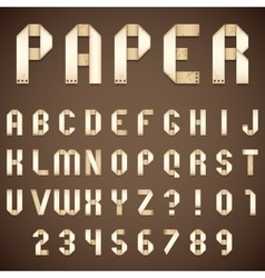 Old paper folded font vector