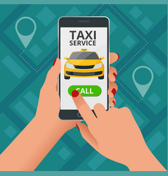 Online taxi-service concept man orders a taxi vector