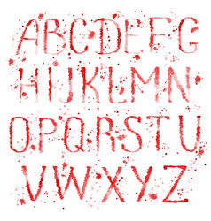 red english alphabet with splashes vector image
