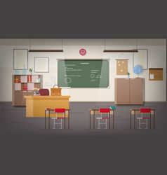 School classroom interior with green wall vector