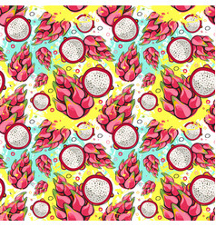seamless pattern pitaya fruits exotic ornament vector image vector image