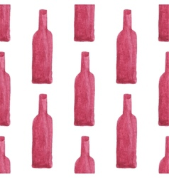 Seamless watercolor pattern with wine bottles vector