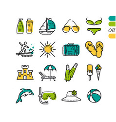Set summer holiday linear colored icons vector