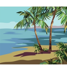 Tropical exotic summer beach vector