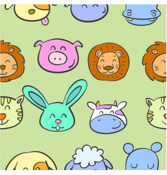 Various animal cute of doodles vector