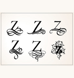 vintage set capital letter z for monograms and vector image vector image