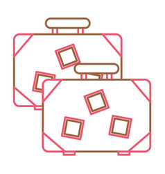vintage suitcases travel stickers and handle vector image