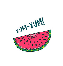 Watermelon yum yum card design vector