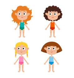 young european girls body template - front girls vector image vector image