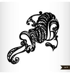 Zodiac signs black and white - Aquarius vector image
