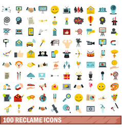 100 reclame icons set flat style vector image