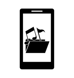 Isolated music note inside device design vector