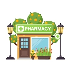 Pharmacy shop facade vector