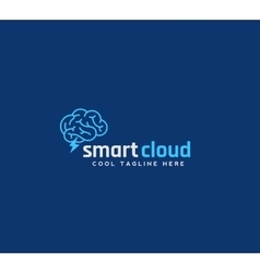 Smart Cloud Abstract Emblem Sign or Logo vector image