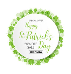 Special offer sale text badge with green clover vector