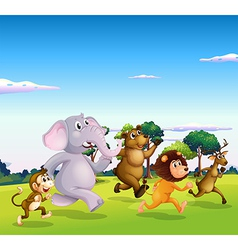 Five wild animals running vector
