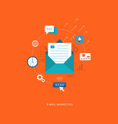 Flat banner with icons e-mail marketing vector